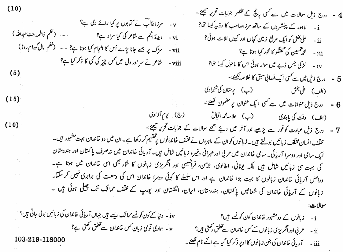 10th Class Urdu Paper 2019 Gujranwala Board Subjective Group 1