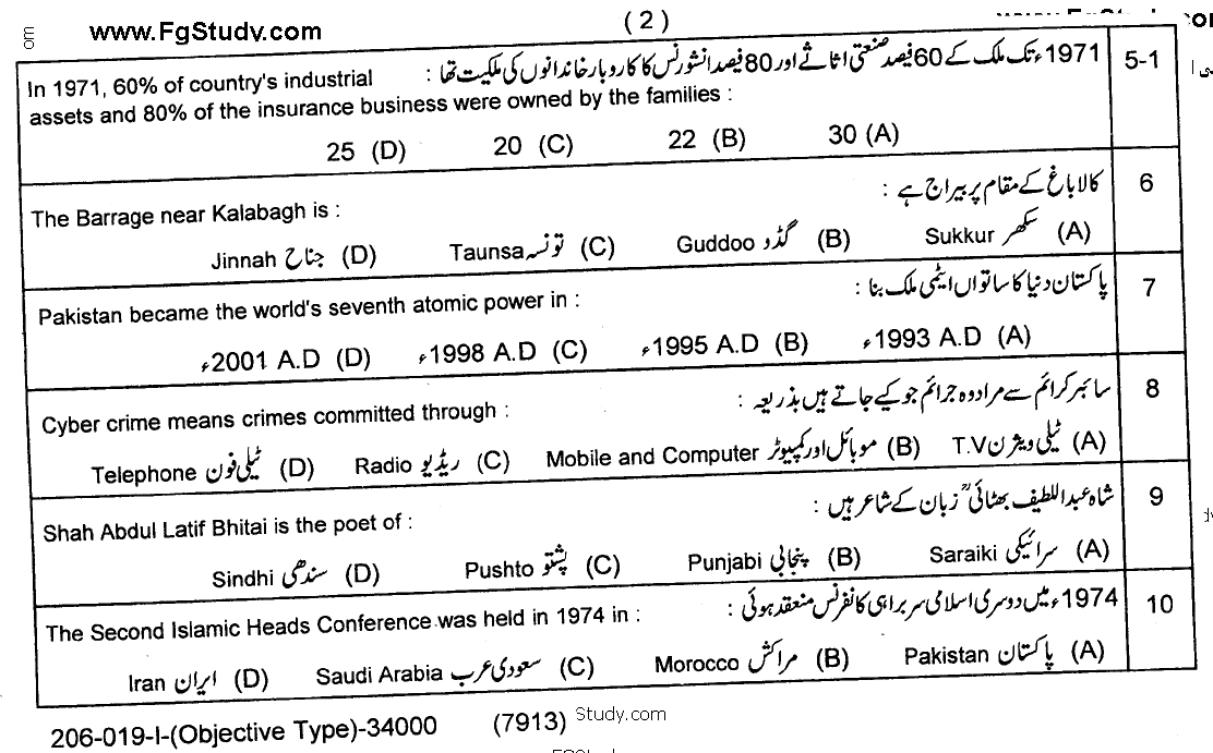Pakistan Studies Paper Objective Group 1 10th Class Past Papers 2019 page 2