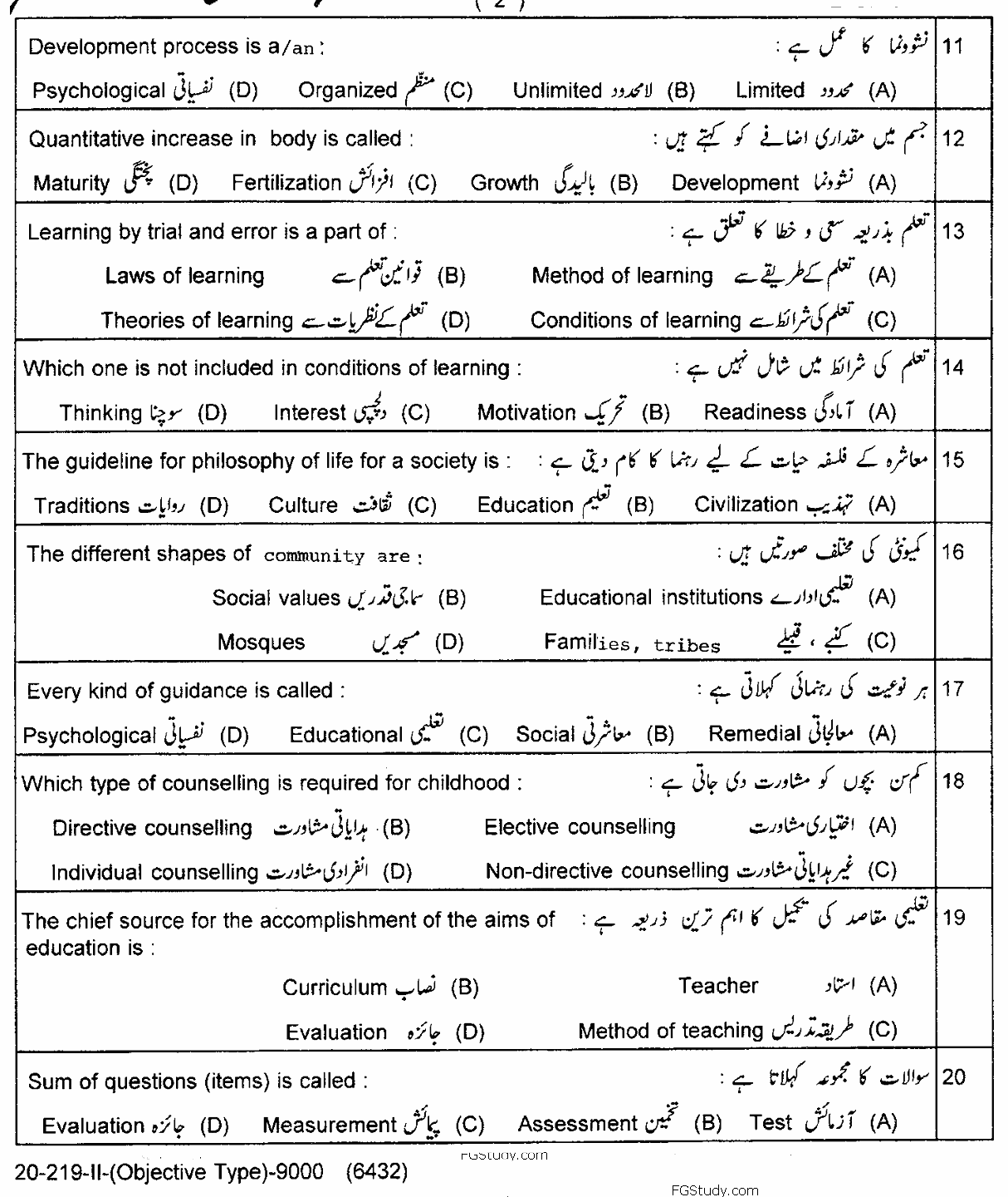 Education Lahore Board Objective Group 2 11th Past Papers 2019