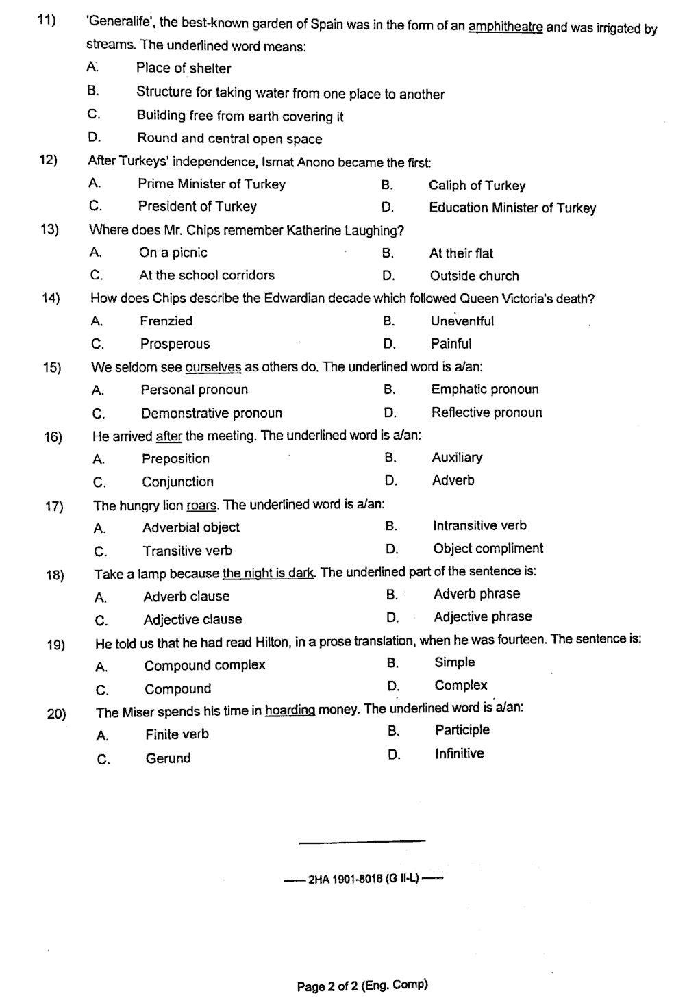Federal Board Past Papers 12th Class English 2019 Group 2 Objective