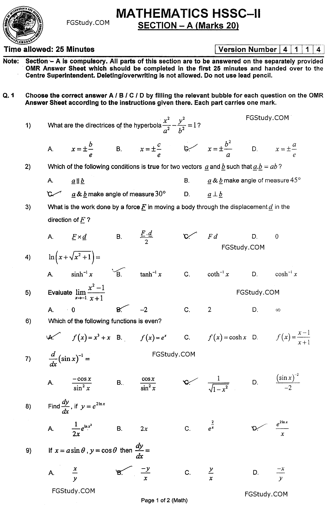 Federal Board Past Papers 12th Class Mathematics 2021 objective page 1