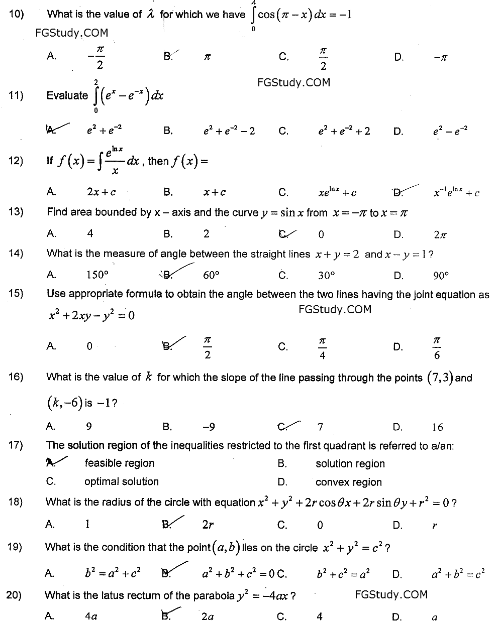 Federal Board Past Papers 12th Class Mathematics 2021 objective page 2