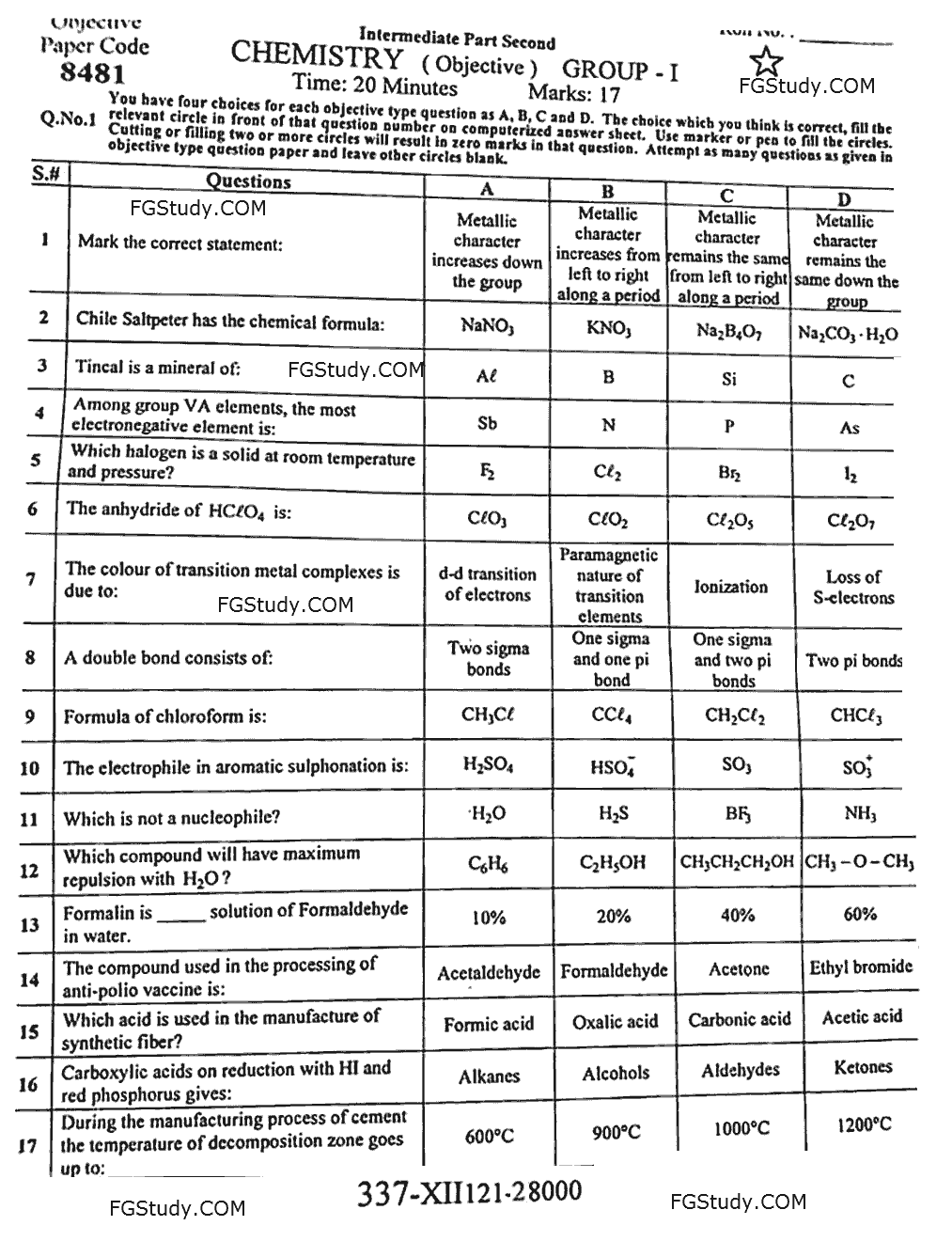 12th Chemistry Papers 2021 Faisalabad Objective Group 1