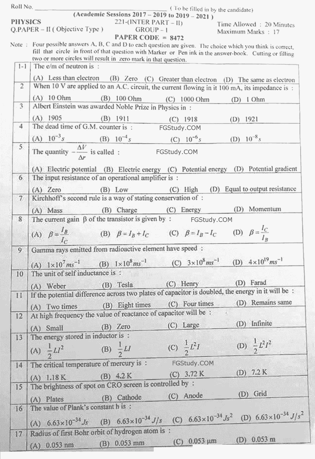 12th Physics Papers 2021 Lahore Objective Group 1