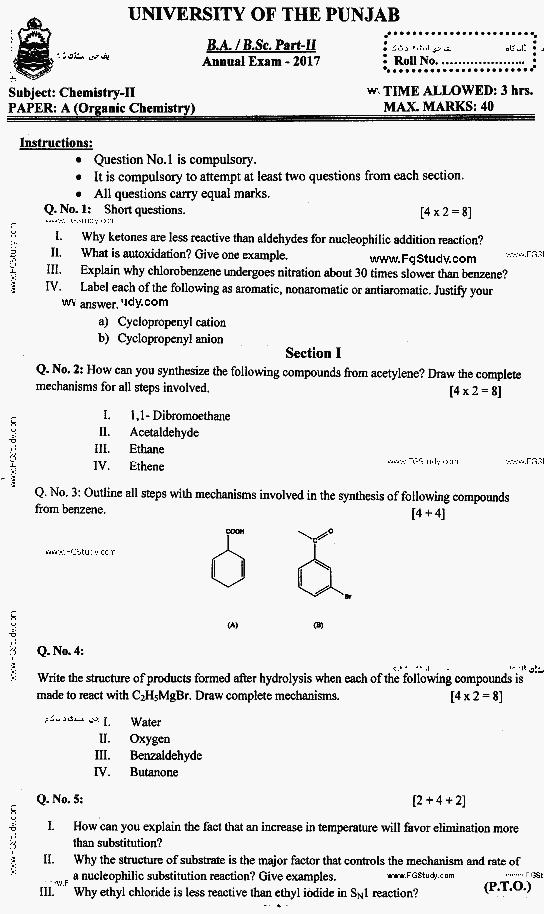 Chemistry Organic Chemistry BA Part 2 Past Papers 2017