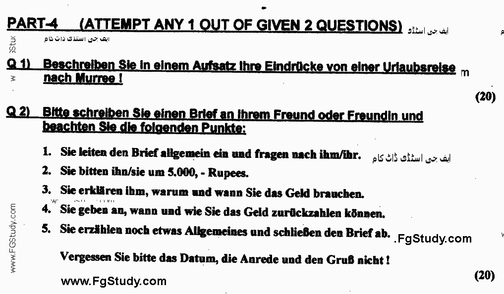 German Optional Group 1 BA Part 2 Past Papers 2017