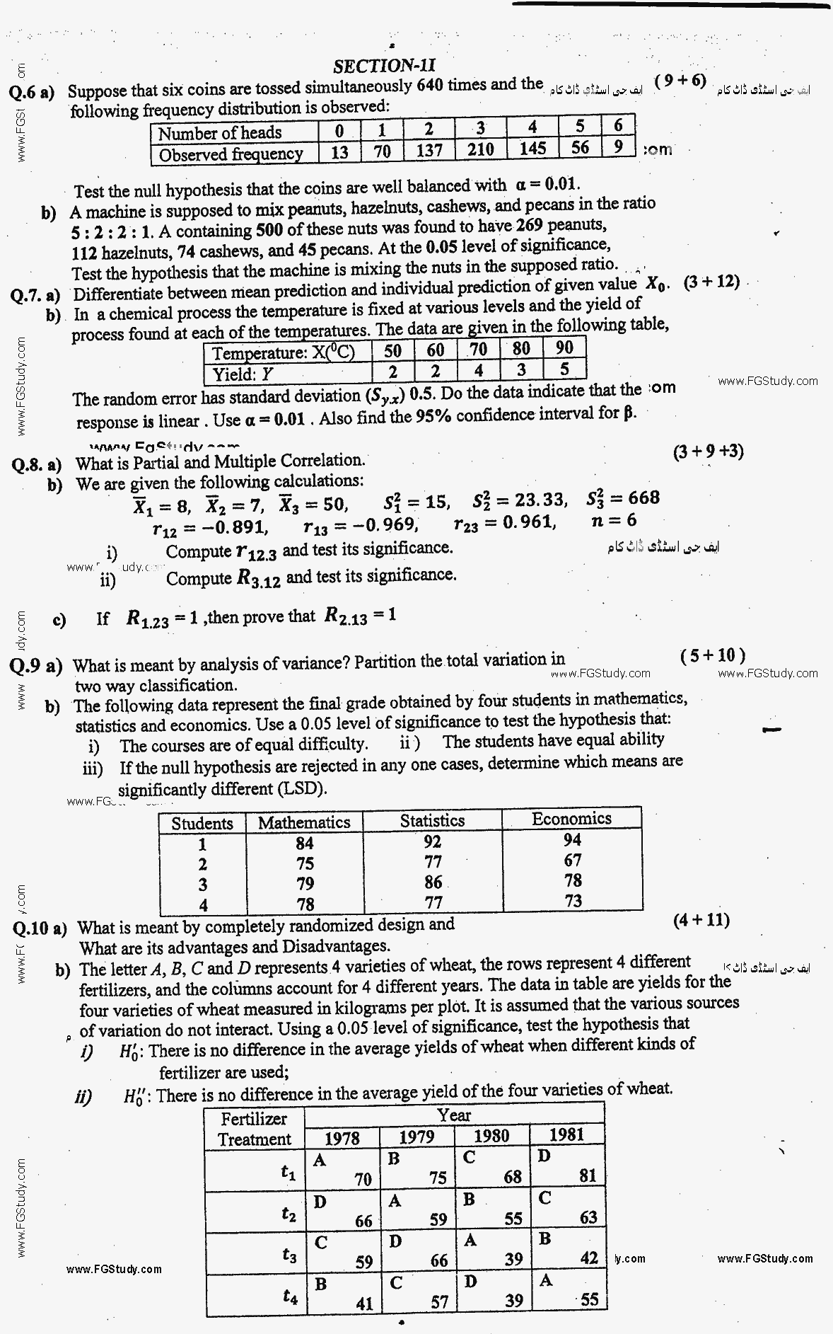 Statistics BA Part 2 Past Papers 2017