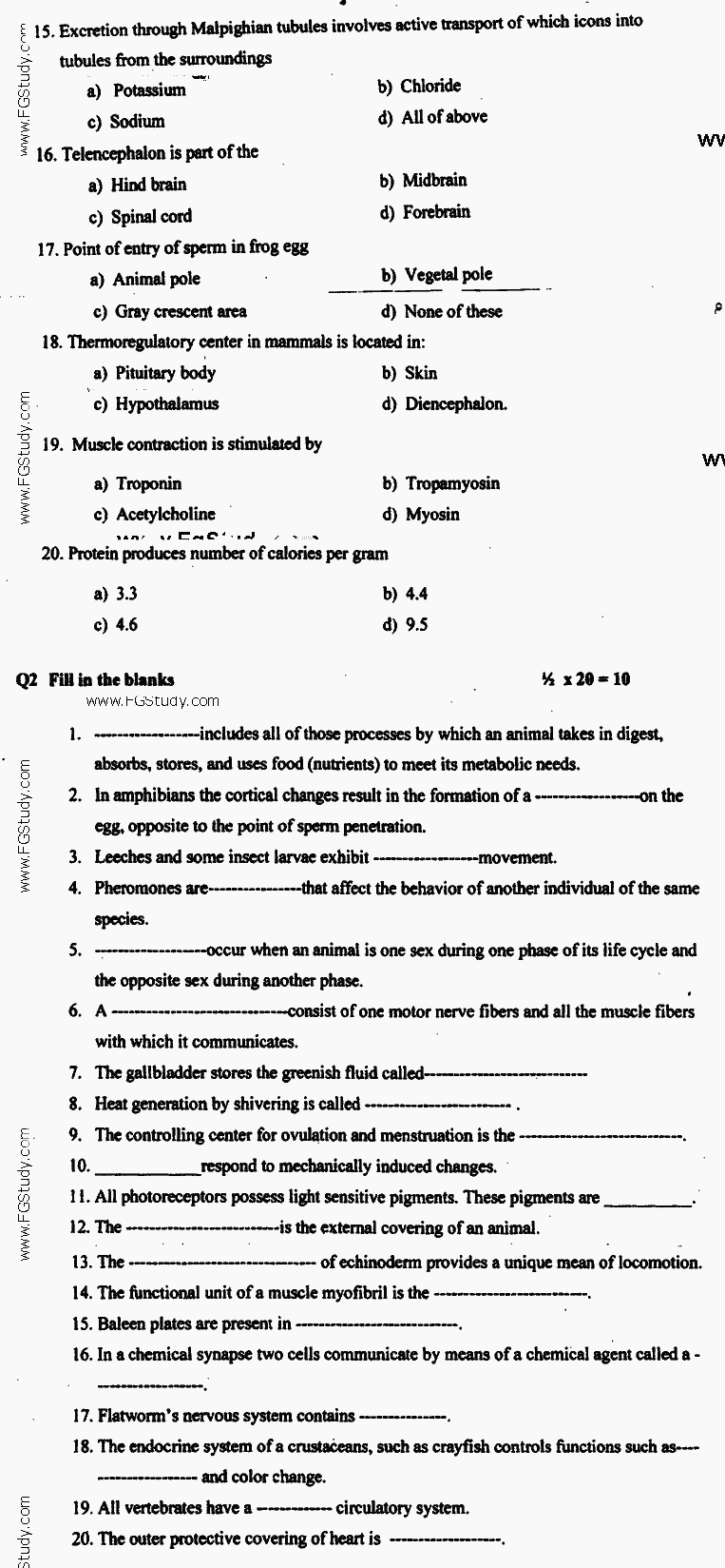 Zoology Animal Form and Function Objective BA Part 2 Past Papers 2017