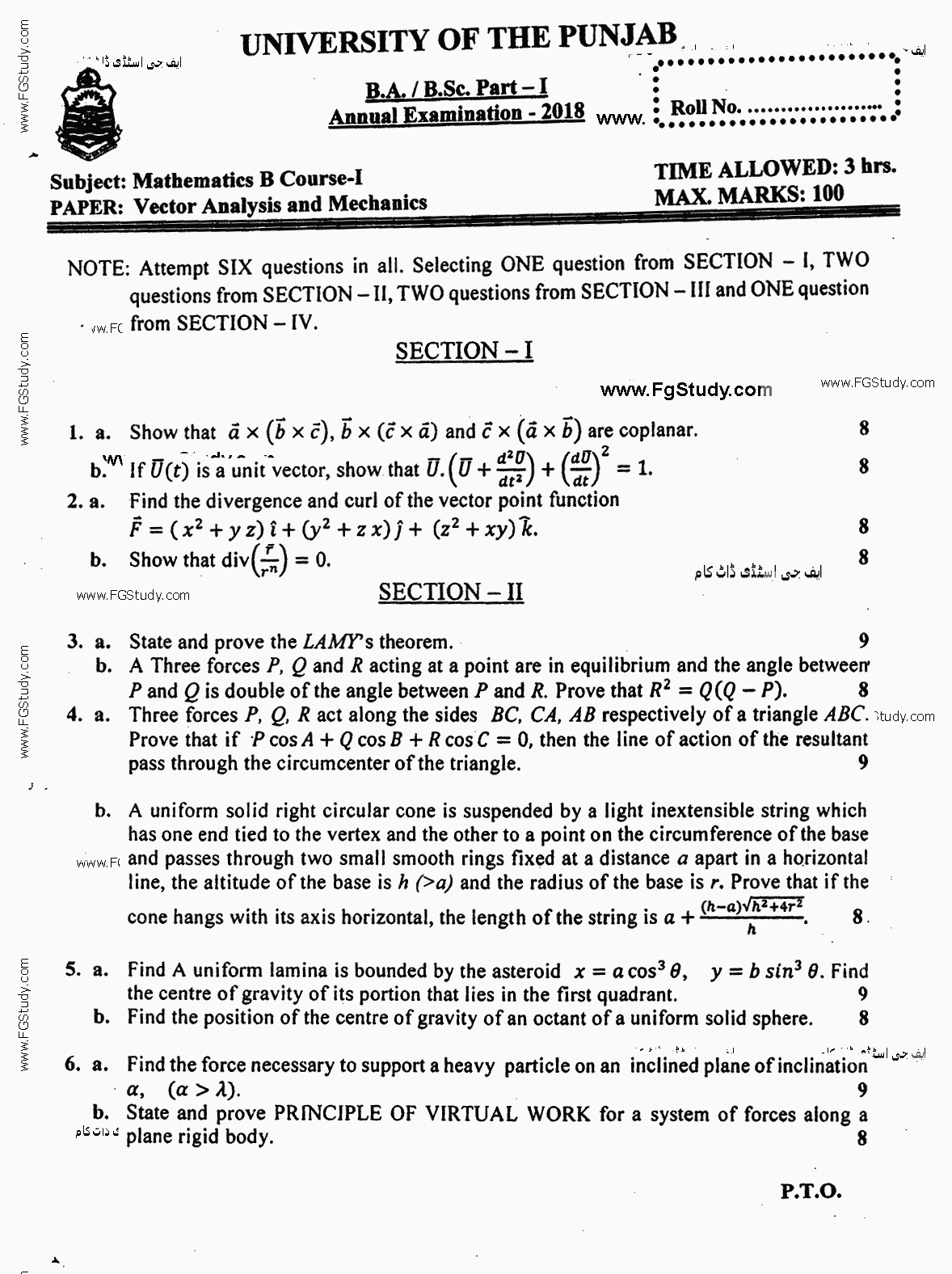Mathematics General Calculus Differential And Integral Calculus BA Part 1 Past Papers 2018