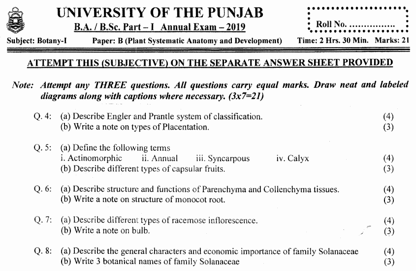 Botany Plant Systematic Anatomy Subjective BA Part 1 Past Papers 2019