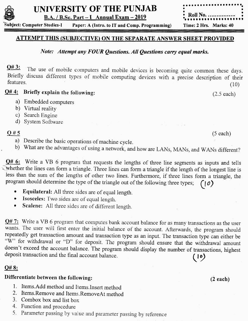 Computer Studies Introduction To It And Computer Group 2 BA Part 1 Past Papers 2019