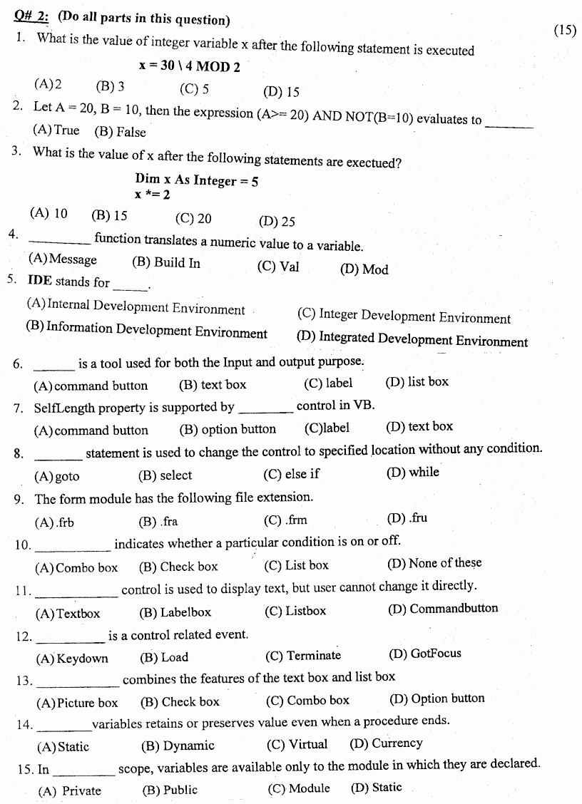 Computer Studies Introduction To It And Computer Obj Group 2 BA Part 1 Past Papers 2019 page 2