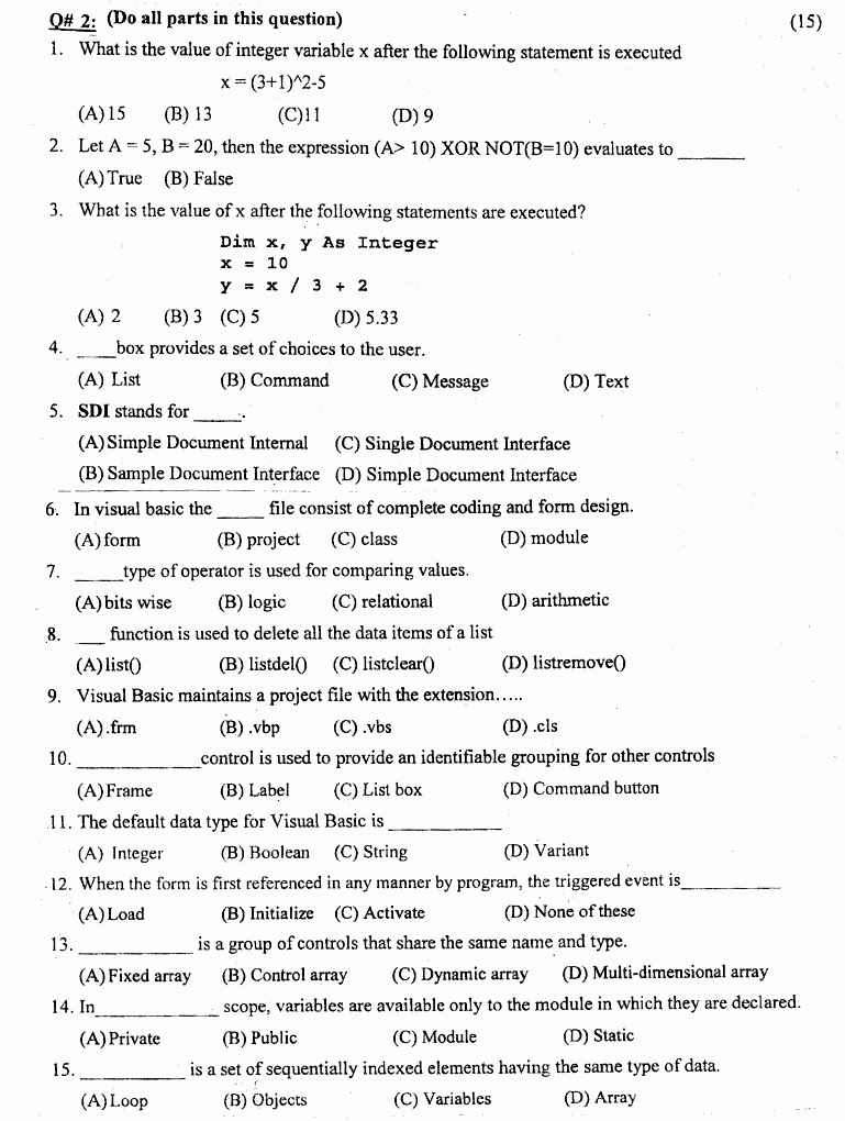 Computer Studies Introduction To It And Computer Obj BA Part 1 Past Papers 2019 page 2