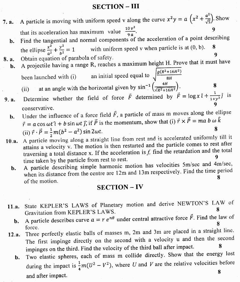 Mathematics B Vector Analysis And Mechanics BA Part 1 Past Papers 2019 p 2