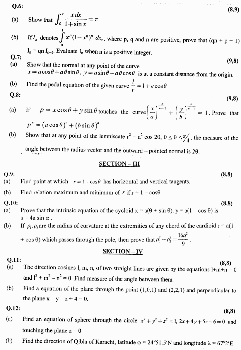 Mathematics Calculus And Analytical Geometry BA Part 1 Past Papers 2019 page 2