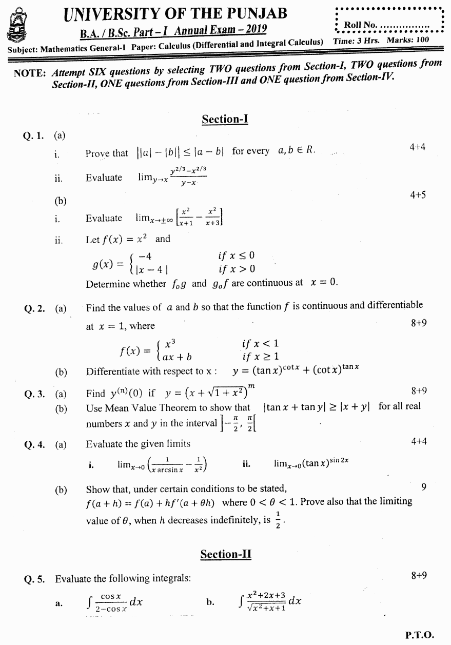 Mathematics General Calculus Differential And Integral BA Part 1 Past Papers 2019
