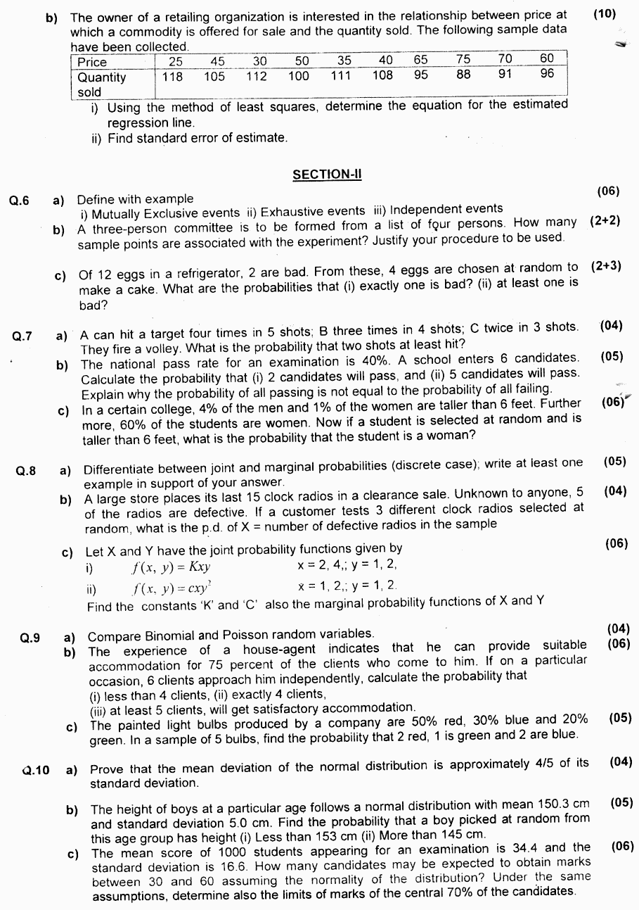 Statistics Group 2 BA Part 1 Past Papers 2019 p2