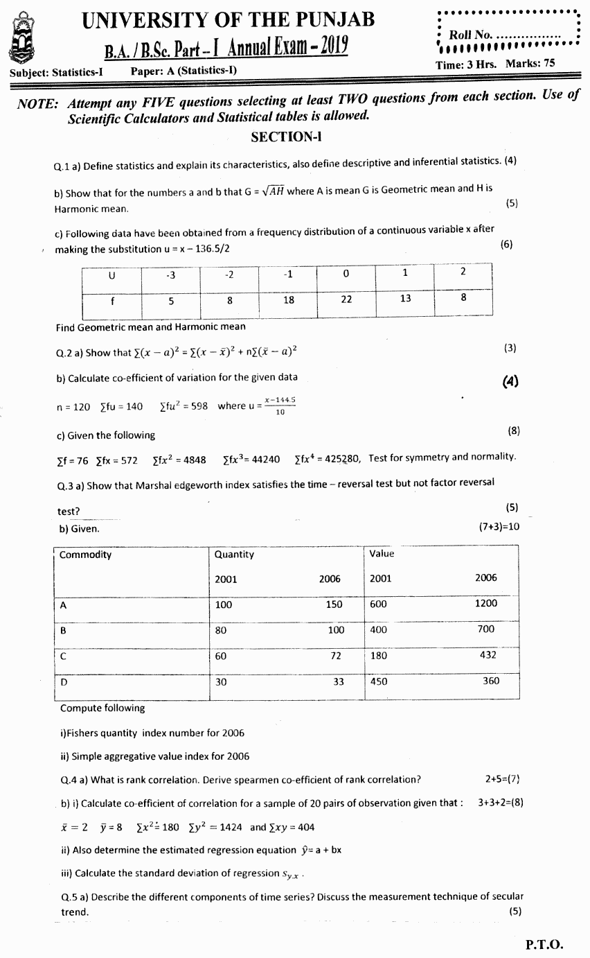 Statistics BA Part 1 Past Papers 2019
