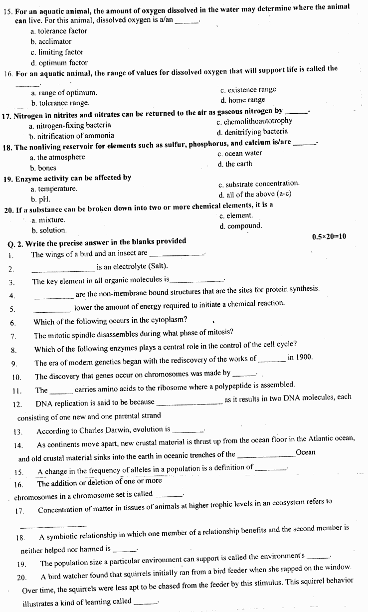 Zoology Principles In Animal Life Group 1 BA Part 1 Past Papers 2019 p2