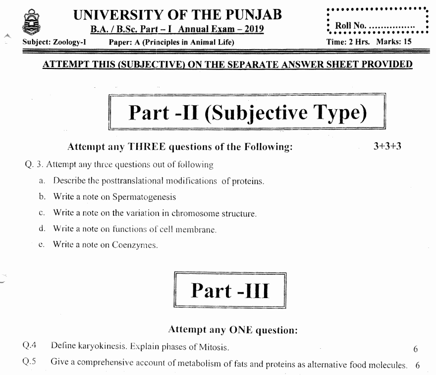 Zoology Principles In Animal Life Group 2 BA Part 1 Past Papers 2019