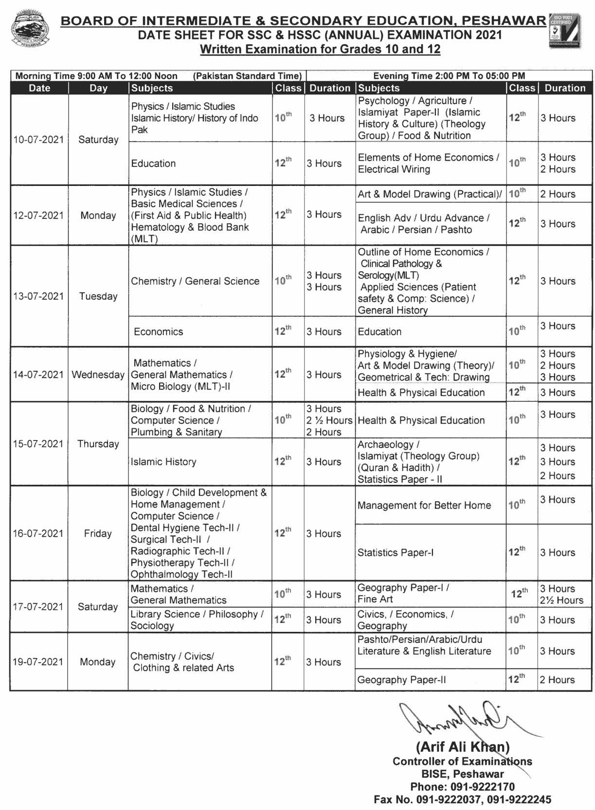 BISE Peshawar Board Date Sheet 2021 10th Class