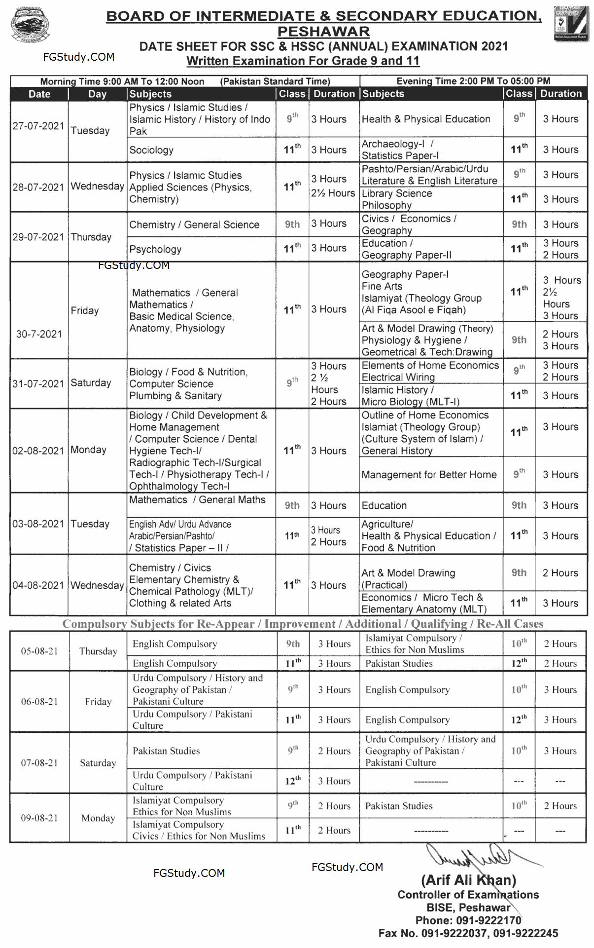 peshawar-board-date-sheet-2021-9th-class