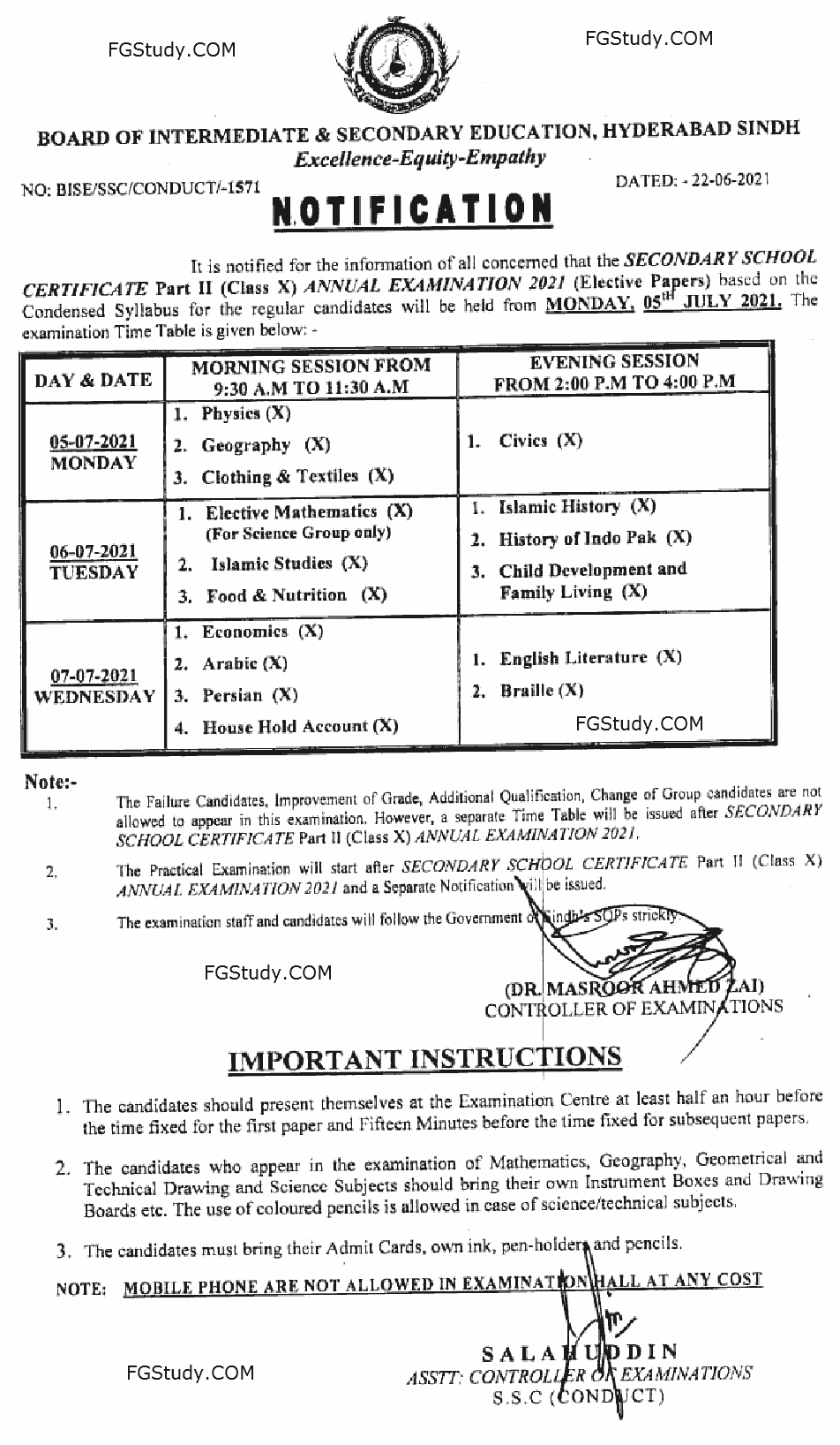 image of hyderabad board ssc exam time table 2021
