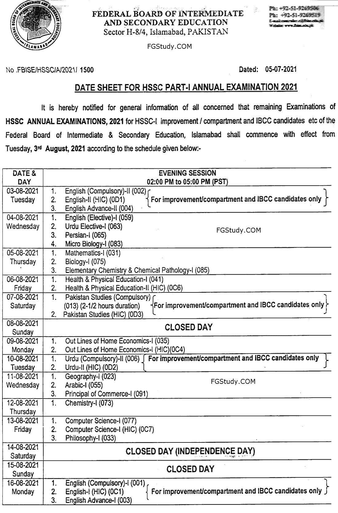 images of fbise date sheet 2021 hssc 1 page 1