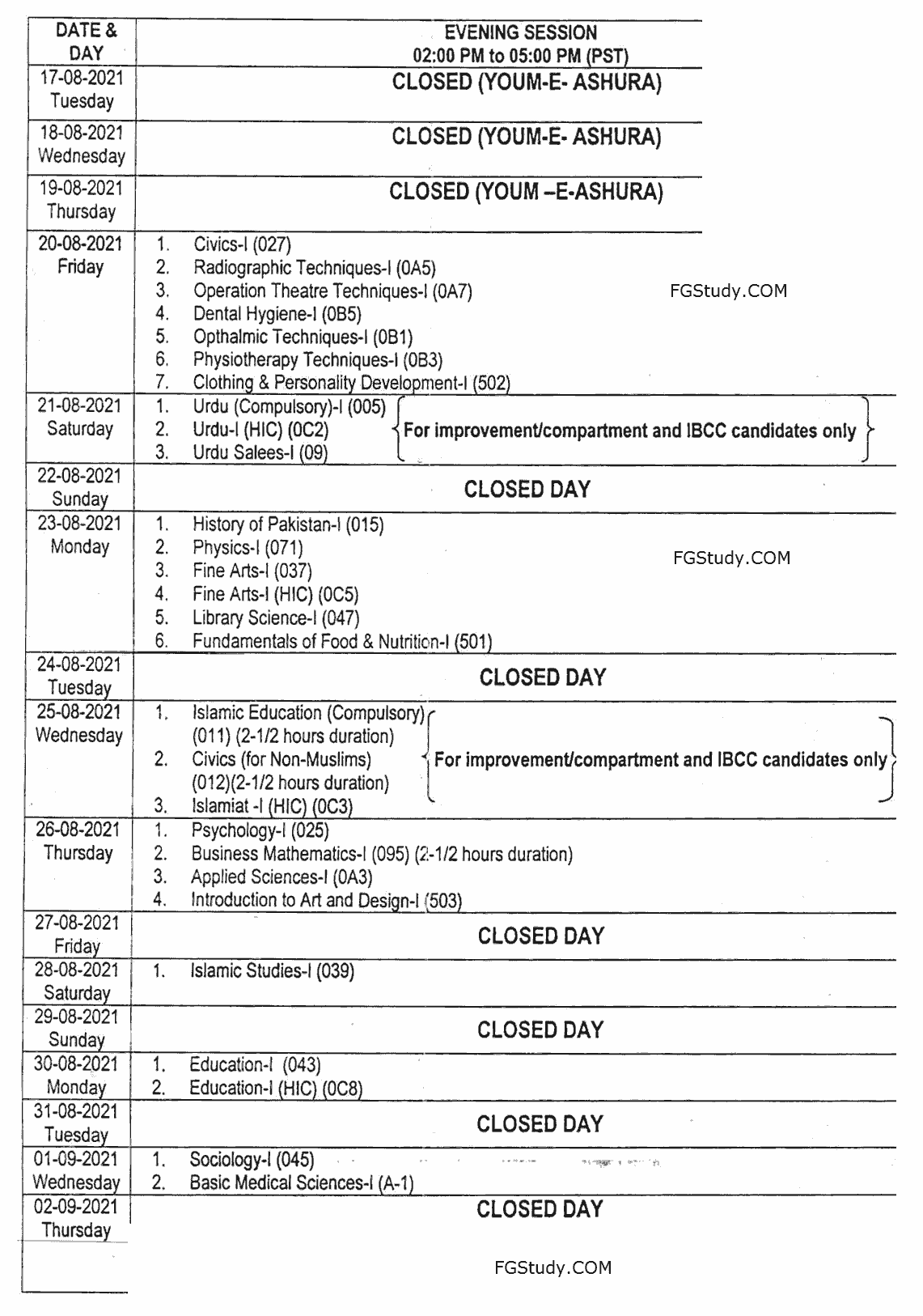images of fbise date sheet 2021 hssc 1 page 2